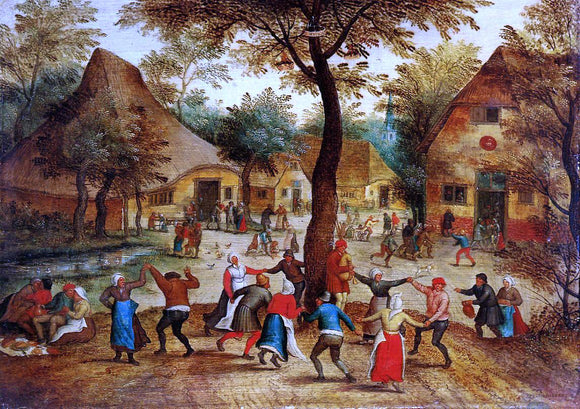 The Younger Pieter Bruegel Village Scene with Dance around the May Pole - Canvas Art Print