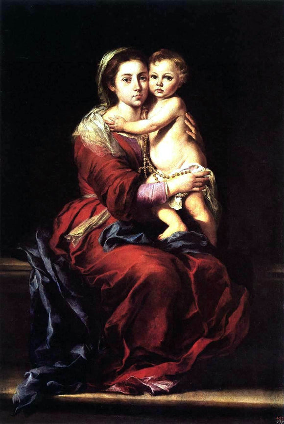 Bartolome Esteban Murillo Virgin and Child with a Rosary - Canvas Art Print