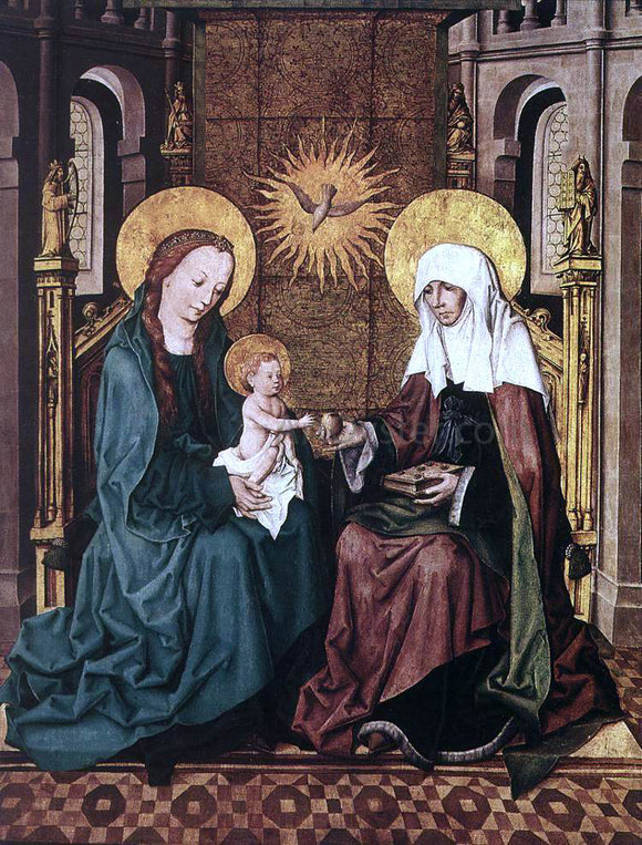 Master the Housebook Virgin and Child with St Anne - Canvas Art Print