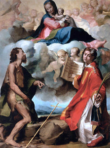 Michelangelo Anselmi Virgin in Glory Flanked by Sts John the Baptist and Stephen - Canvas Art Print
