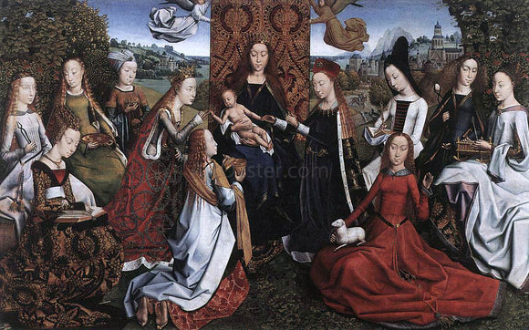 Master lucy Legend Virgin Surrounded by Female Saints - Canvas Art Print