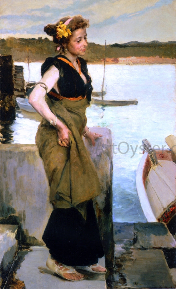 Joaquin Sorolla Y Bastida Waiting - Canvas Art Print