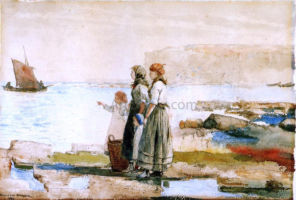 Winslow Homer Waiting for the Return of the Fishing Fleet - Canvas Art Print