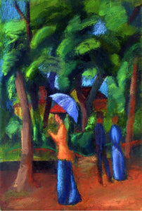 August Macke Walking in the Park - Canvas Art Print
