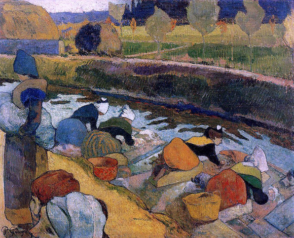 Paul Gauguin Washerwomen at the Roubine du Roi. Arles - Canvas Art Print
