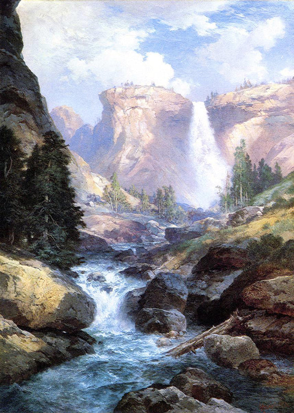 Thomas Moran Waterfall in Yosemite - Canvas Art Print