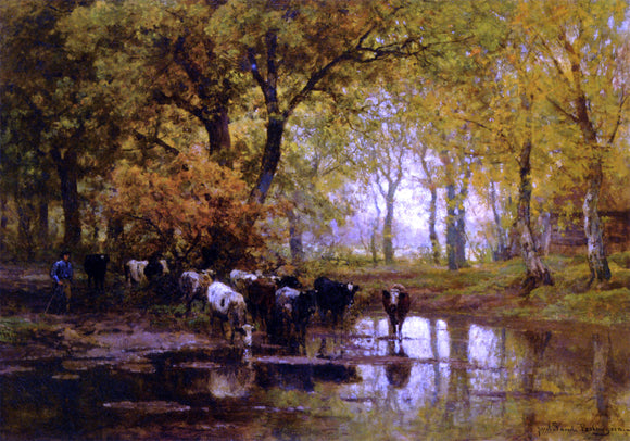 Julius Jacobus Van De Sande Bakhuyzen Watering Cows in a Pond - Canvas Art Print