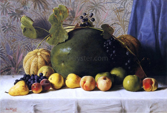 George Hetzel Watermelon, Cantaloupes, Grapes and Apples - Canvas Art Print