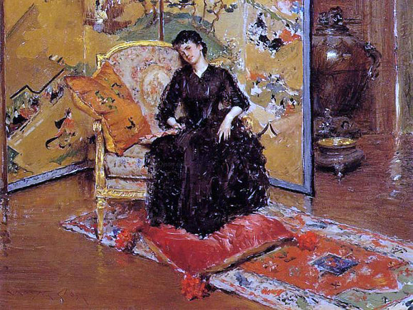 William Merritt Chase Weary (also known as Who Rang?) - Canvas Art Print