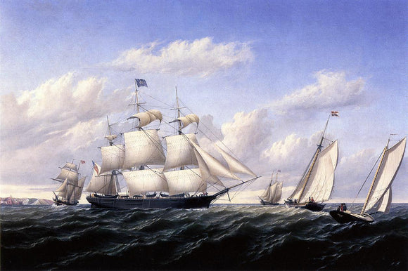 William Bradford Whaleship 'Speedwell of Fairhaven, Outward Bound off Gay Head - Canvas Art Print