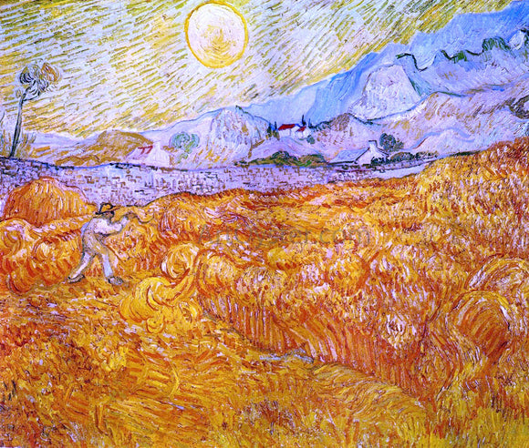 Vincent Van Gogh Wheat Field behind Saint-Paul Hospital with a Reaper - Canvas Art Print