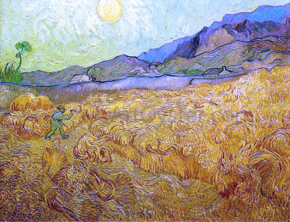 Vincent Van Gogh Wheat Fields with Reaper at Sunrise - Canvas Art Print