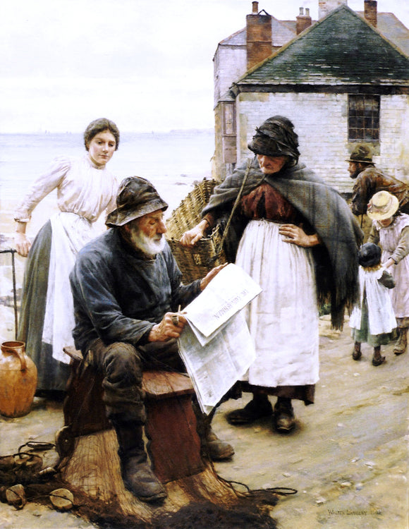 Walter Langley When the Boats are Away - Canvas Art Print