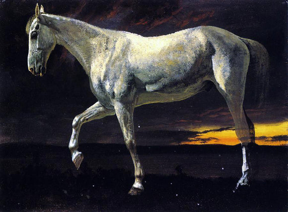 Albert Bierstadt A White Horse and Sunset - Canvas Art Print