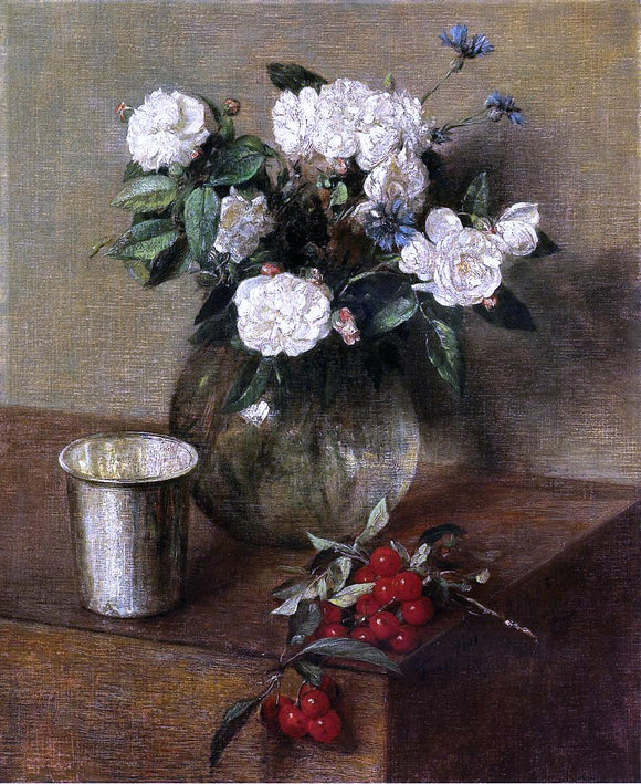 Henri Fantin-Latour White Roses and Cherries - Canvas Art Print