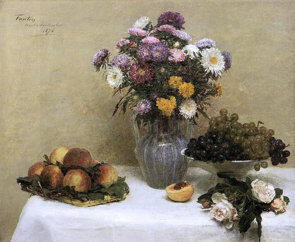 Henri Fantin-Latour White Roses, Chrysanthemums in a Vase, Peaches and Grapes on a Table with a White Tablecloth - Canvas Art Print