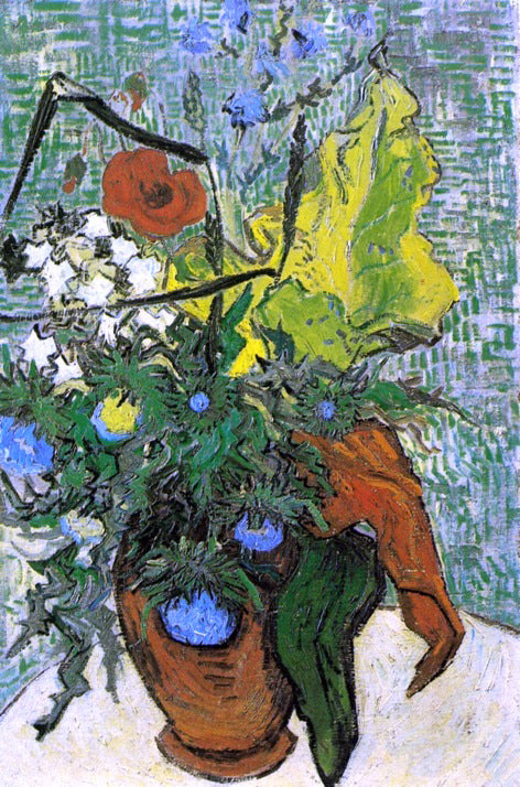 Vincent Van Gogh Wild Flowers and Thistles in a Vase - Canvas Art Print