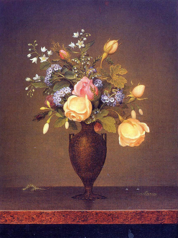 Martin Johnson Heade Wildflowers in a Brown Vase - Canvas Art Print