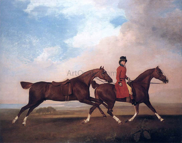 George Stubbs William Anderson with Two Saddle-horses - Canvas Art Print