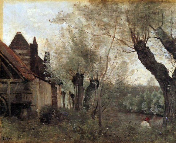 Jean-Baptiste-Camille Corot Willows and Farmhouses at Saint-Catherine-les Arras - Canvas Art Print