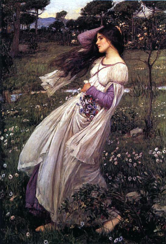 John William Waterhouse Windflowers - Canvas Art Print