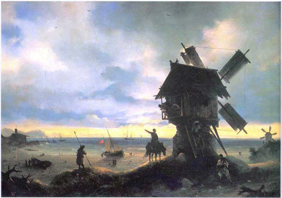 Ivan Constantinovich Aivazovsky Windmill on the Sea Coast - Canvas Art Print