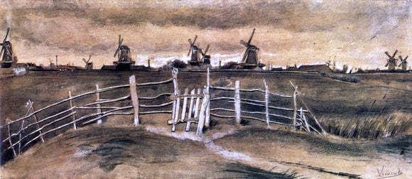 Vincent Van Gogh Windmils at Dordrecht - Canvas Art Print