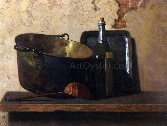 John Frederick Peto Wine and Brass Stewing Kettle (also known as Preparation of French Potage) - Canvas Art Print