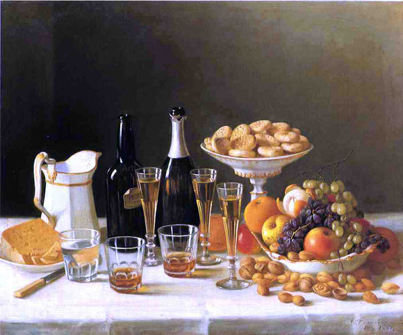 John F Francis Wine, Cheese and Fruit - Canvas Art Print