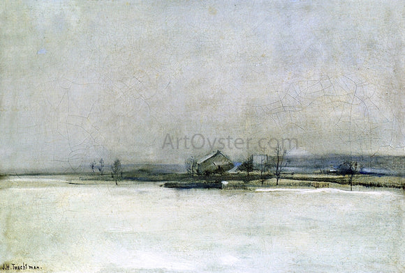 John Twachtman Winter Landscape with Barn - Canvas Art Print