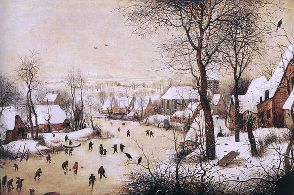 The Elder Pieter Bruegel Winter Landscape with Skaters and Bird Trap - Canvas Art Print