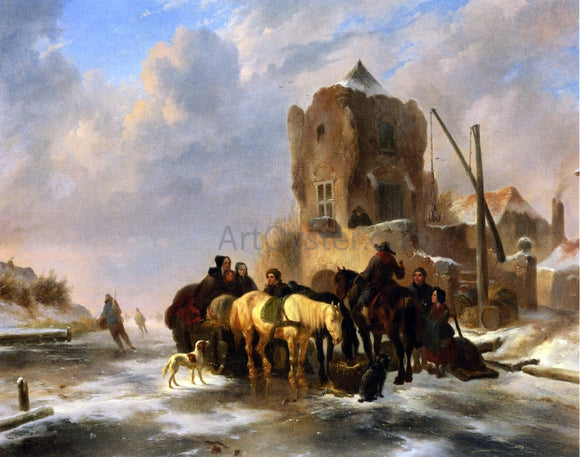 Wouterus Verschuur Winter Scene - Canvas Art Print