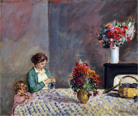 Henri Lebasque Woman and Child Seated at a Table - Canvas Art Print