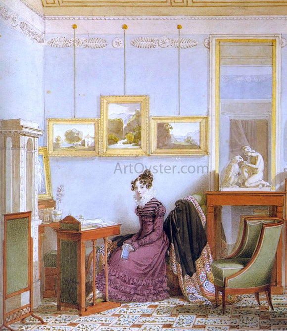 Johann Ender Woman at her Writing Desk - Canvas Art Print