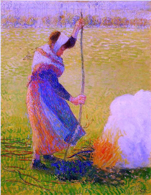 Camille Pissarro Woman Burning Wood - Canvas Art Print