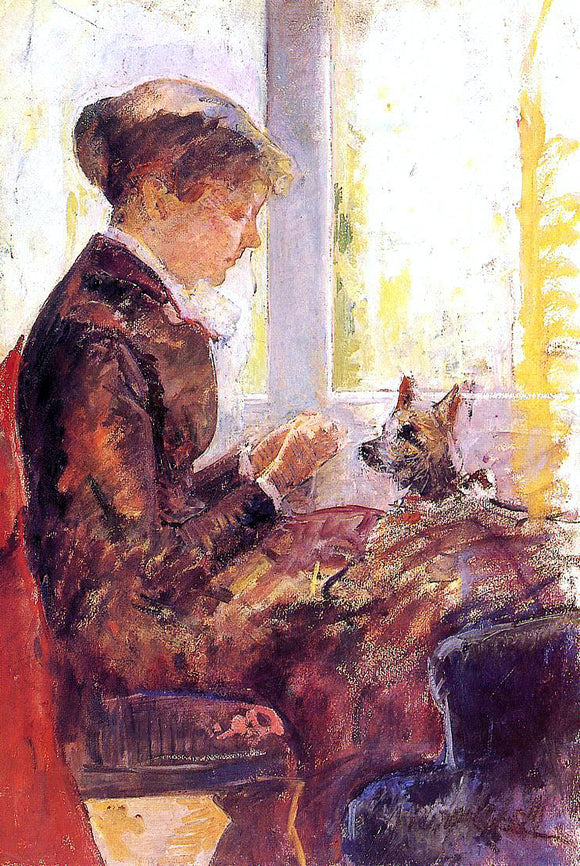 Mary Cassatt Woman by a Window Feeding Her Dog - Canvas Art Print
