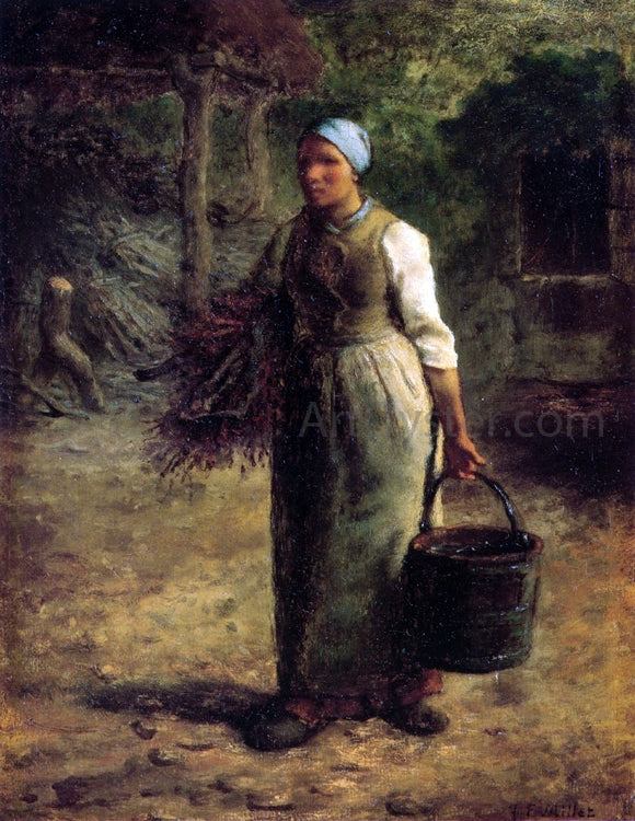 Jean-Francois Millet Woman Carrying Firewood and a Pail - Canvas Art Print