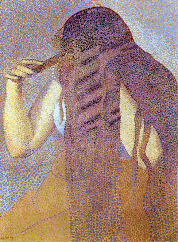 Henri Edmond Cross Woman Combing Her Hair - Canvas Art Print