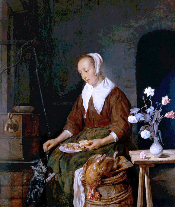 Gabriel Metsu Woman Eating and Feeding her Cat - Canvas Art Print