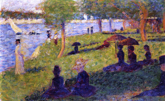 Georges Seurat Woman Fishing and Seated Figures - Canvas Art Print