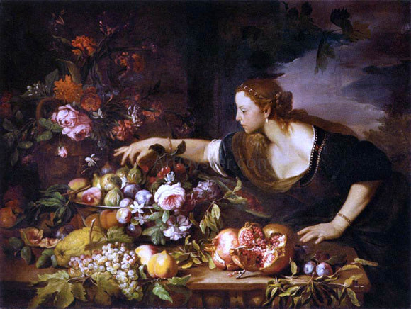 Abraham Brueghel Woman Grasping Fruit - Canvas Art Print