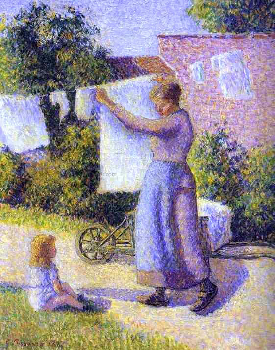Camille Pissarro Woman Hanging Laundry - Canvas Art Print
