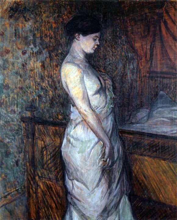 Henri De Toulouse-Lautrec Woman in a Chemise Standing by a Bed (also known as Madame Poupoule) - Canvas Art Print