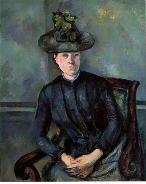 Paul Cezanne Woman in a Green Hat (also known as Madame Cezanne) - Canvas Art Print