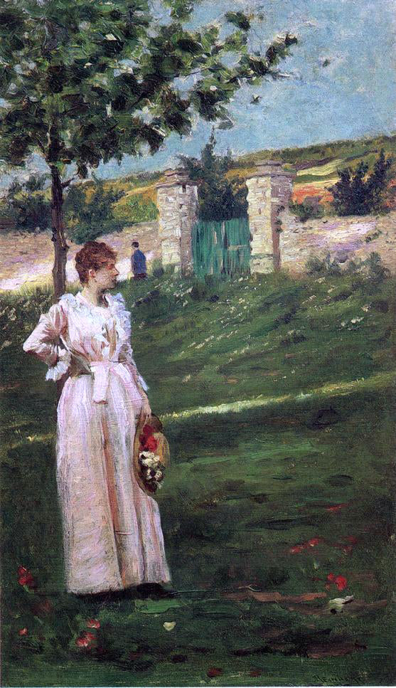 Charles Stanley Reinhart Woman in a Landscape - Canvas Art Print