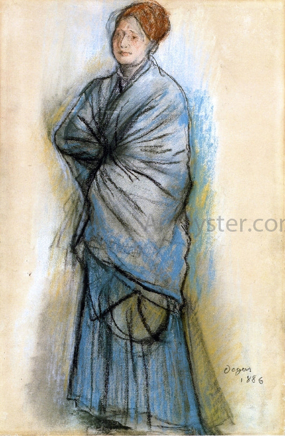 Edgar Degas Woman in Blue (also known as Portrait of Mlle. Helene Rouart) - Canvas Art Print