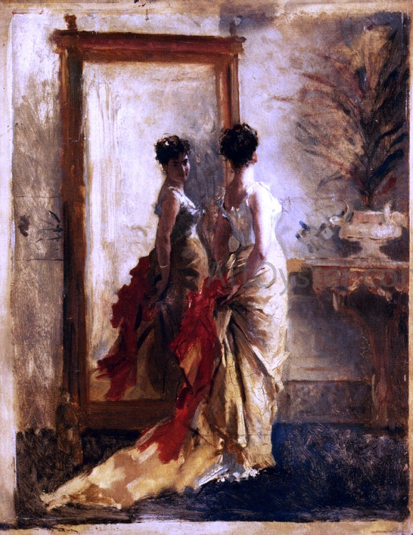 Mose Bianchi Woman in Front of a Mirror - Canvas Art Print