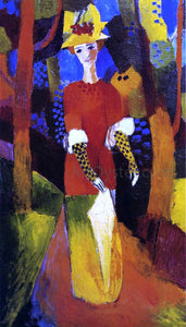 August Macke Woman in Park - Canvas Art Print