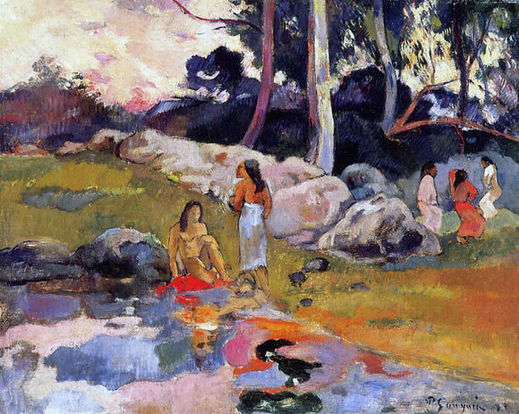 Paul Gauguin Woman on the Banks of the River - Canvas Art Print