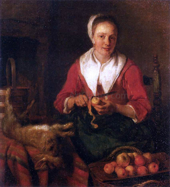 Gabriel Metsu Woman Peeling an Apple - Canvas Art Print
